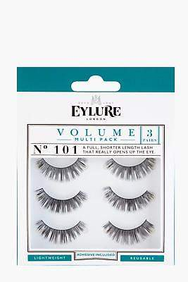 boohoo NEW Womens Eylure Volume False Lashes - 101 Multipack in Black size One