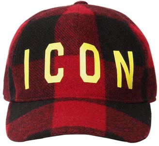 11b485b9130d1c DSQUARED2 Icon Checked Wool Baseball Hat