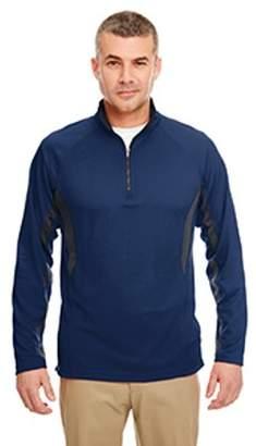 ULTRACLUB UltraClub Adult Cool & Dry Colorblock Dimple Mesh Quarter-Zip Pullover - NAVY/ FLINT - L 8434
