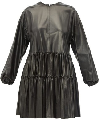 Valentino Tiered Leather Dress - Womens - Black