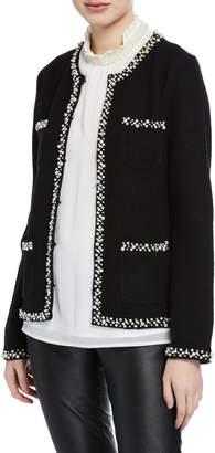 Karl Lagerfeld Paris Pearly 4-Pocket Boiled Wool Sweater