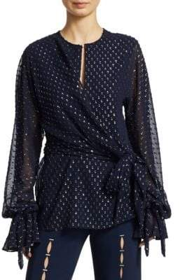 Jonathan Simkhai Metallic Wrap-Effect Fil Coupe Blouse