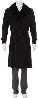 Gucci Shearling-Trimmed Suede Coat