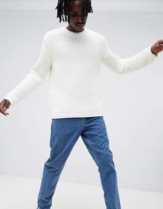 Asos Design DESIGN oversized knitted chenille sweater in white