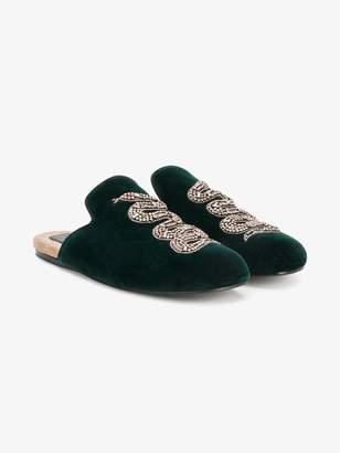 Gucci Snake Embellished Evening Slippers