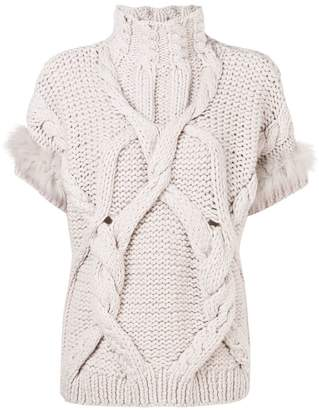 Lorena Antoniazzi cable knit short sleeve jumper