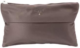 Prada Brown Silk Clutch Bag