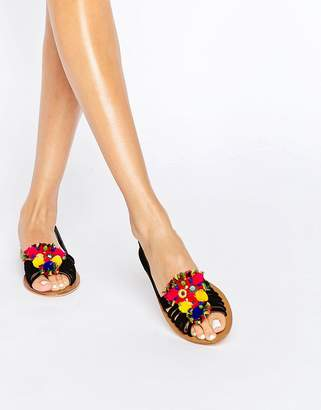 Asos JEANA Suede Pom Embellished Summer Shoes