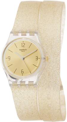 Swatch Women's -Tone Rubber Band Resin Case Swiss Quartz Analog Watch LK351C