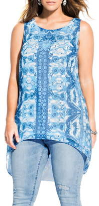 City Chic Bella Vacanza Collection Mykonos High/Low Sleeveless Top