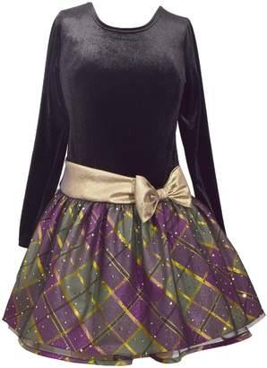 Bonnie Jean Little Girls' Gold Taffeta Plaid Drop Waist