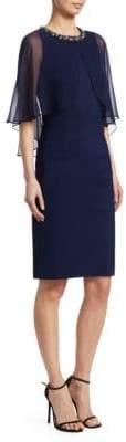 Teri Jon by Rickie Freeman Sheer Cape Dress