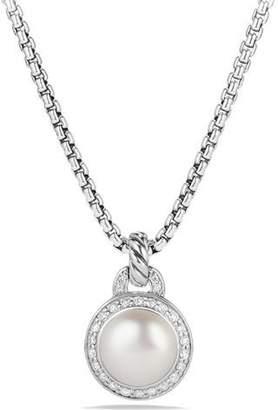 David Yurman Petite Cerise Pearl Pendant Necklace w/Pave Diamonds
