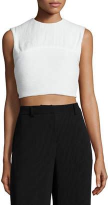 McQ Alexander McQueen Pleated Sleeveless Crop Top, Ivory $340 thestylecure.com