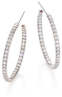 Roberto Coin Diamond& 18K White Gold Medium Hoop Earrings