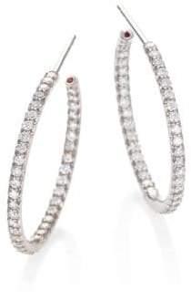 Roberto Coin Diamond& 18K White Gold Medium Hoop Earrings