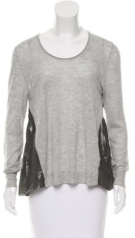 3.1 Phillip Lim 3.1 Phillip Lim Silk-Paneled Scoop Neck Sweater