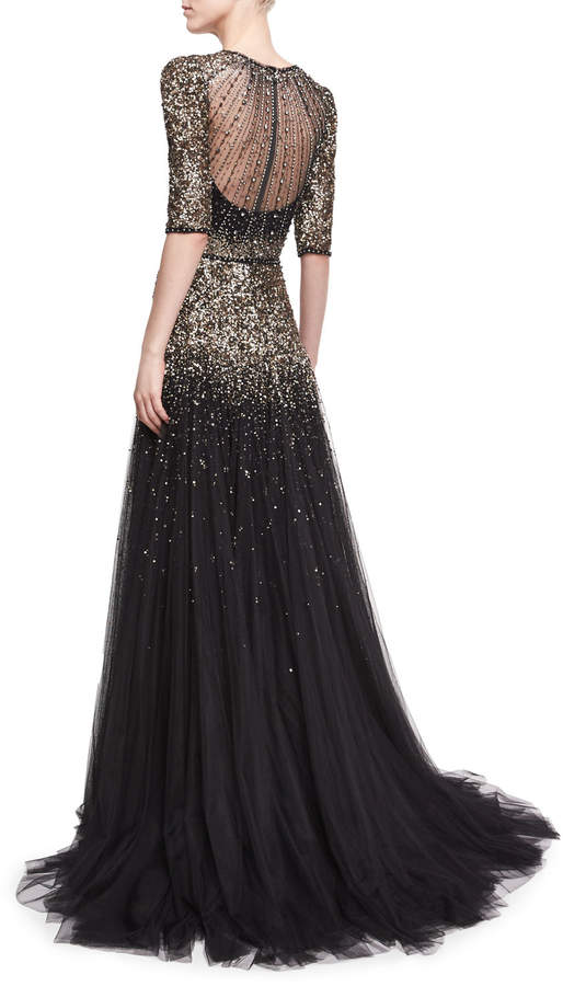 Jenny Packham Beaded Short-Sleeve Tulle Gown 2