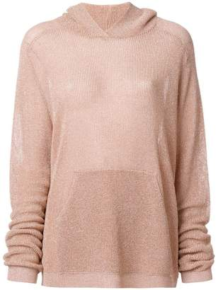 Laneus metallic hooded jumper