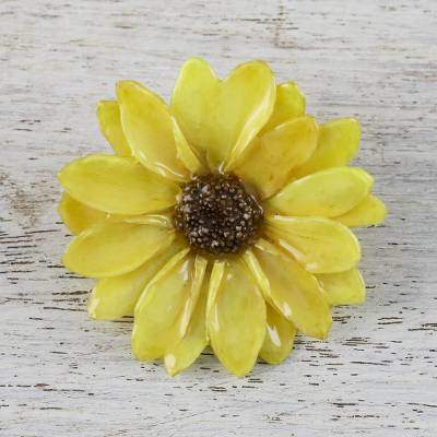 Aster Delight in Yellow Resin Dipped Yellow Real Chrysanthemum Brooch from Thailand