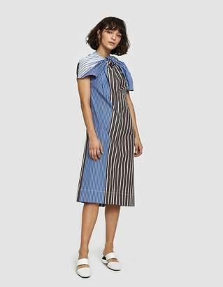 Marni S/S Striped Dress with Twists in Teak
