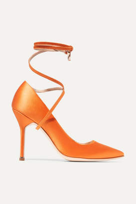 Vetements Manolo Blahnik Satin Pumps - Bright orange