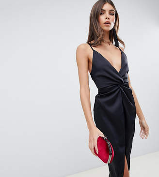 Asos Design DESIGN midi strappy cami with knot front plunge in satin