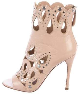 Alaia Leather Cutout Booties