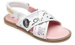 Fendi Toddler's& Kid's Printed Leather Crisscross Sandals