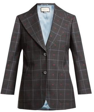 Gucci Heart Jacquard Peak Lapel Wool Blend Blazer - Womens - Grey Multi