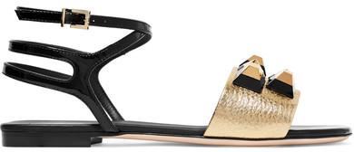 Fendi - Rainbow Embellished Metallic And Patent-leather Sandals - Gold