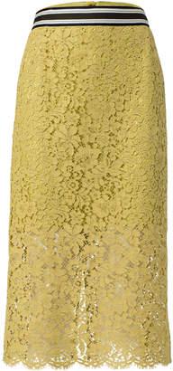 Schumacher Dorothee Striped Grosgrain-Trimmed Cotton-Blend Midi Skirt