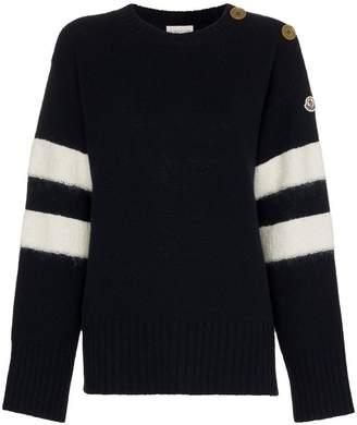 Moncler button embellished knitted jumper