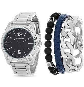 Steve Madden Men's Quartz Bracelet Watch & Bracelet Set, 44mm