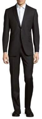 Trim-Fit Wool Herringbone Stripe Suit