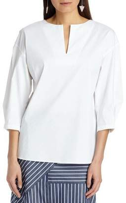 Lafayette 148 New York Juliette 3/4-Sleeve Italian Stretch Cotton Blouse