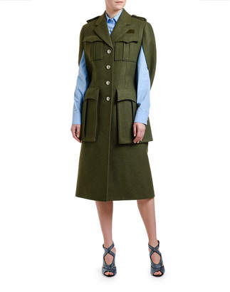 Prada Military Wool Cape Coat