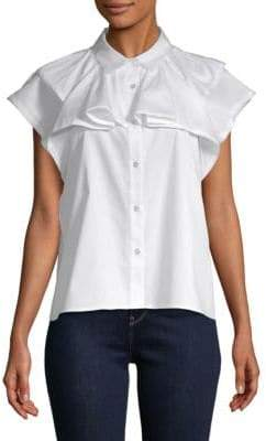 AG Adriano Goldschmied Cap-Sleeve Button-Down Shirt