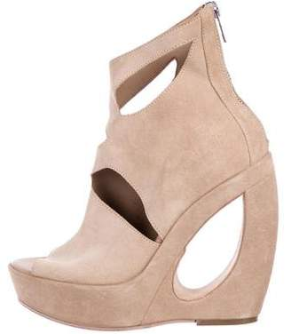 Ann Demeulemeester Suede Wedge Ankle Boots
