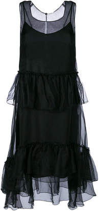 P.A.R.O.S.H. frill trim asymmetric hem dress