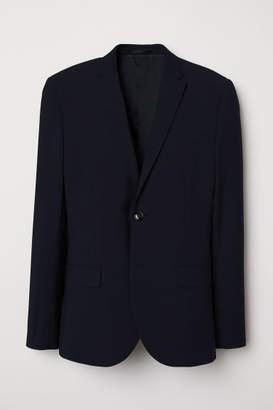 H&M Skinny Fit Wool-blend Blazer - Blue