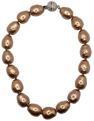Kenneth Jay Lane Gold Baroque Pearl And Pave Ball Necklace