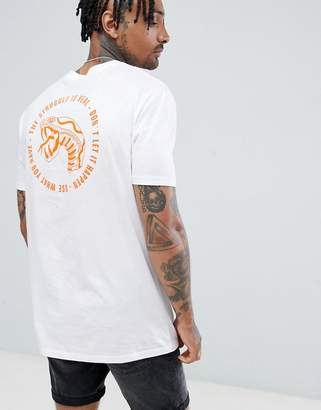Asos DESIGN relaxed longline t-shirt with text and snake print