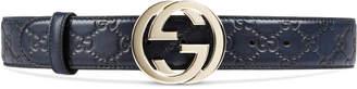 Gucci Guccissima belt with interlocking G