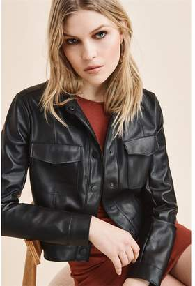 Dynamite Snap Front Faux Leather Jacket Jet Black