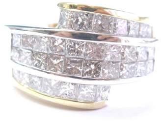18K Gold & 4.00ct Princess Cut Diamond Invisible Ring Set