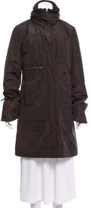 Post Card Knee-Length Zip Front Coat