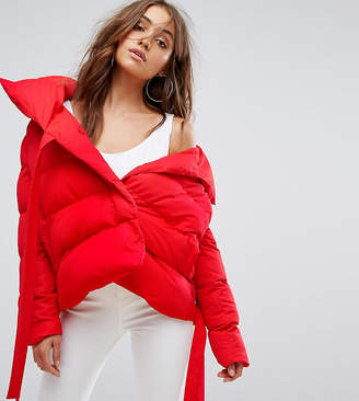 boohoo Short Padded Coat With Tie Detail