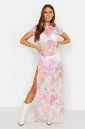 boohoo Petite Cosmo Print Mesh Maxi Dress