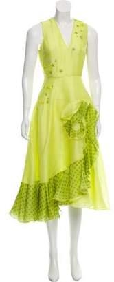 Holly Fulton Silk Embellished Midi Dress